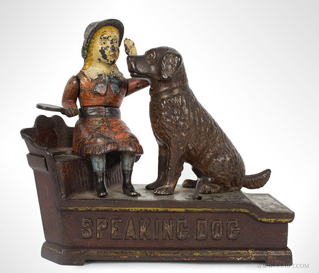 Antique Speaking Dog Mechanical Bank in Original Condition, By Stevens, Patent 1885, entire view