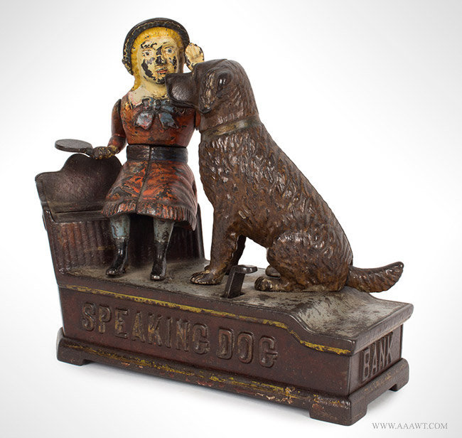 Antique Speaking Dog Mechanical Bank in Original Condition, By Stevens, Patent 1885, angle view