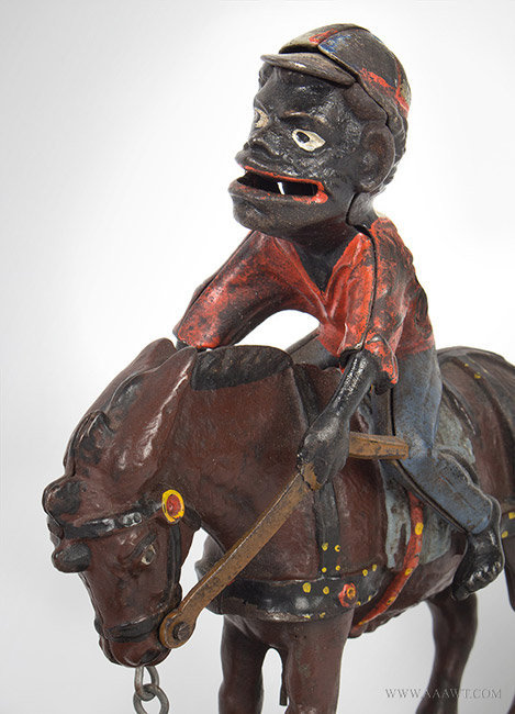 Antique Mechanical Bank, Always Did 'Spise a Mule, by Stevens, 1879, head detail