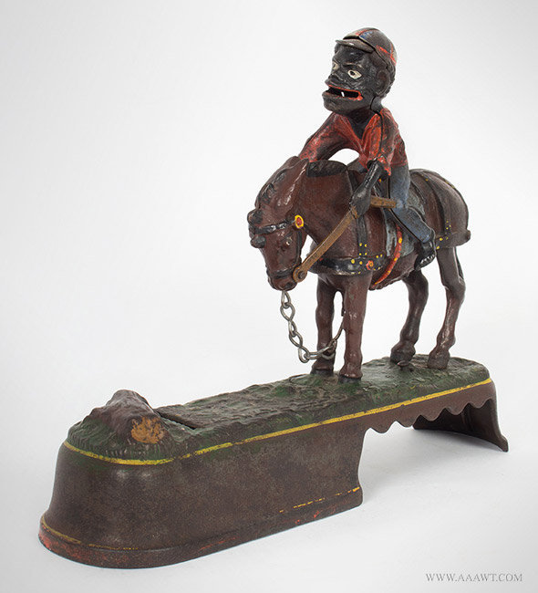 Antique Mechanical Bank, Always Did 'Spise a Mule, by Stevens, 1879, angle view 1