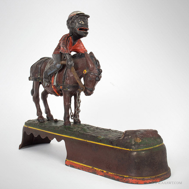 Antique Mechanical Bank, Always Did 'Spise a Mule, by Stevens, 1879, angle view 2