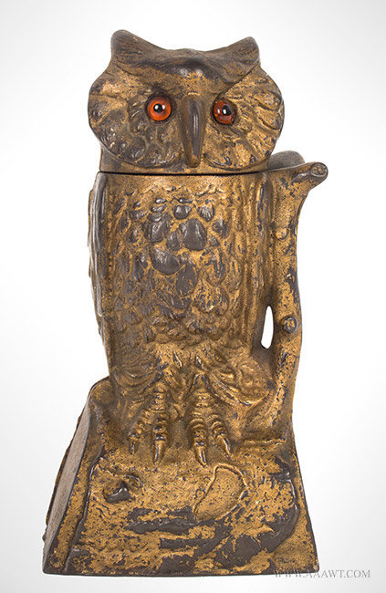 Antique Mechanical Owl Bank with Turning Head in Original Condition, By Stevens, 1880, entire view