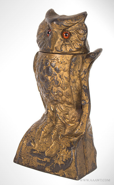 Antique Mechanical Owl Bank with Turning Head in Original Condition, By Stevens, 1880, angle view 1
