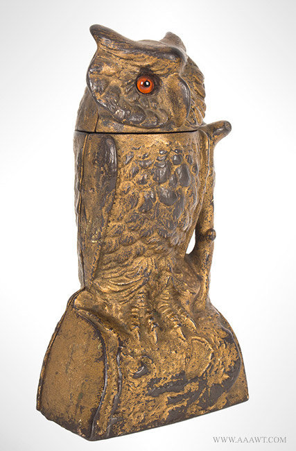 Antique Mechanical Owl Bank with Turning Head in Original Condition, By Stevens, 1880, angle view 2