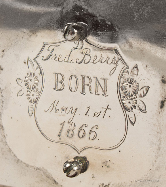 Antique Presentation Still Bank from the Berry Family, 19th Century, engraving detail