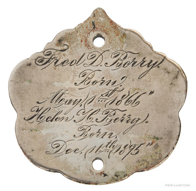 Antique Presentation Still Bank from the Berry Family, 19th Century, medal detail