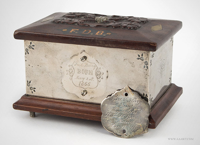 Antique Presentation Still Bank from the Berry Family, 19th Century, box and medal view