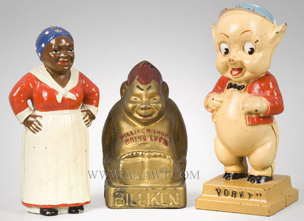 Antique Banks, Still Banks, Mammy, Billiken, Porky Pig, group view