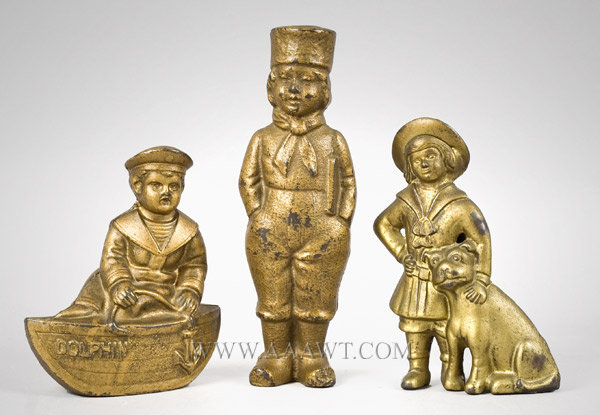 Antique Banks, Still Banks, Boat, Dutch Boy, Buster Brown, group view