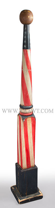 Barber Pole, Post Form, Tapered, Painted, Stars, Original Paint Unknown Maker Circa 1930 to 1940ish, entire view