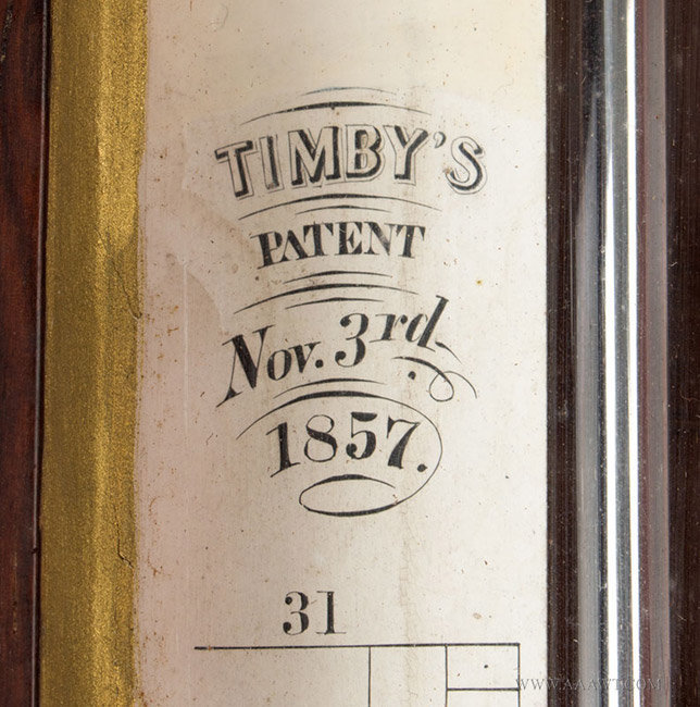 Antique Stick Barometer, Timby's Patent, 1857, patent detail