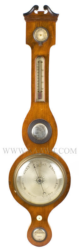 Barometer, Thermometer and Mirror Molded Broken Arch and Scrolled Pediment Negretti and Zambra 19th Century London, entire view