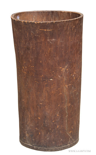 Large Antique Carved Hornbeam Barrel with Great Patina, 19th Century, angle view