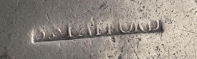 Antique Pewter Basin, Albany, New York, mark detail