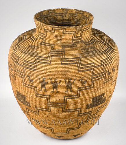 Antique Basket, Apache Olla, Coiled Storage Jar, angle view