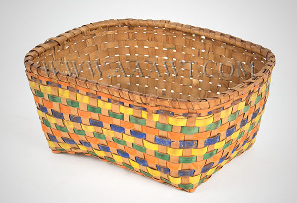 Basket, Rectangle, Yellow, Green and Laundry Blued Splints, entire view