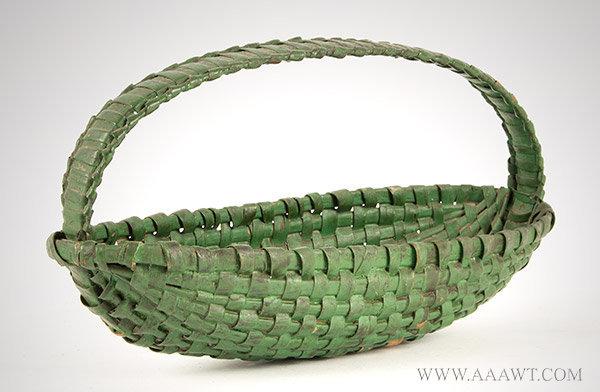 Basket, Boat Shape, Original Green Paint, Oak Splint Found in Pennsylvania, Late 19th Century, entire view