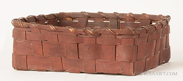 Antique Ash Splint Basket in Original Red Paint, 19th Century, angle view