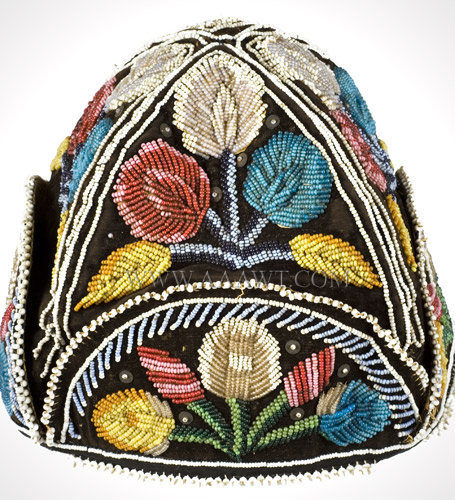 Antique Beaded Cap, Native American, Iroquois, side detail 1