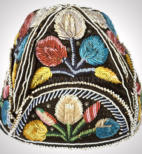 Antique Beaded Cap, Native American, Iroquois, side detail 2