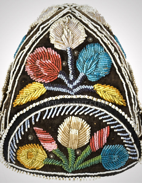 Antique Beaded Cap, Native American, Iroquois, side detail 3