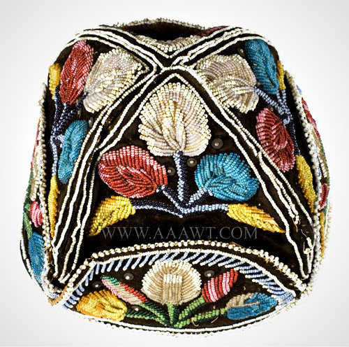 Antique Beaded Cap, Native American, Iroquois, top view