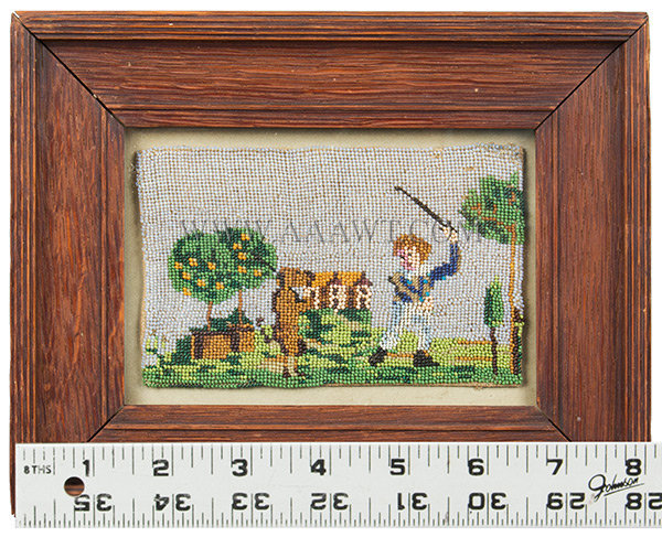 Antique Beadwork, Boy with Dog, Glass Beads, with ruler for scale