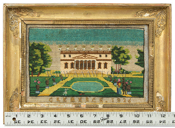 Antique Beadwork Picture of Clemence House, Dated 1826, with ruler for scale