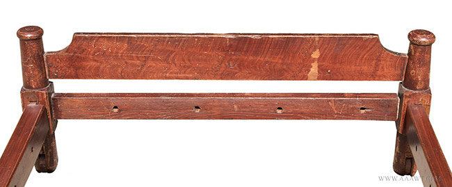 Antique Grain Painted Trundle Bed with Wooden Wheels, New England, 19th Century, headboard detail