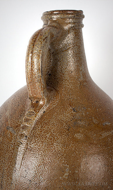 Antique Salt Glazed Bellarmine Graybeard Jug, Frechen, German, 17th Century, handle detail