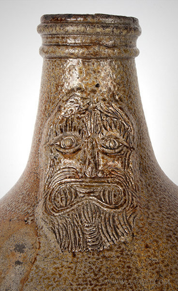 Antique Salt Glazed Bellarmine Graybeard Jug, Frechen, German, 17th Century, graybeard detail