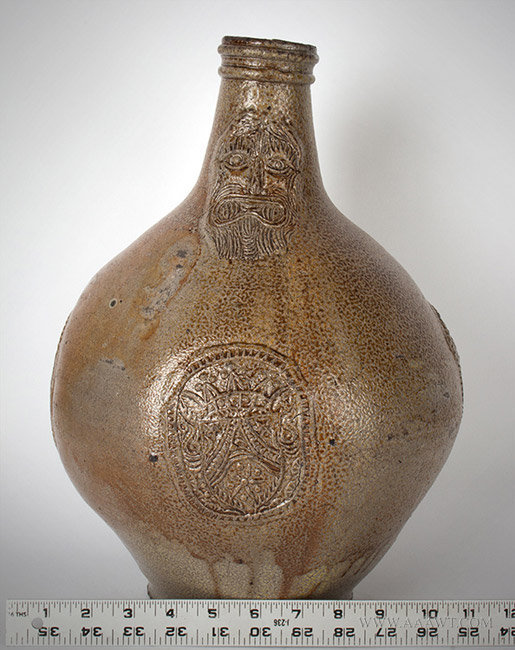 Antique Salt Glazed Bellarmine Graybeard Jug, Frechen, German, 17th Century, with ruler for scale