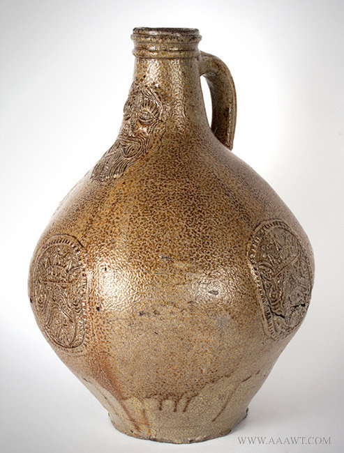Antique Salt Glazed Bellarmine Graybeard Jug, Frechen, German, 17th Century, angle view 1
