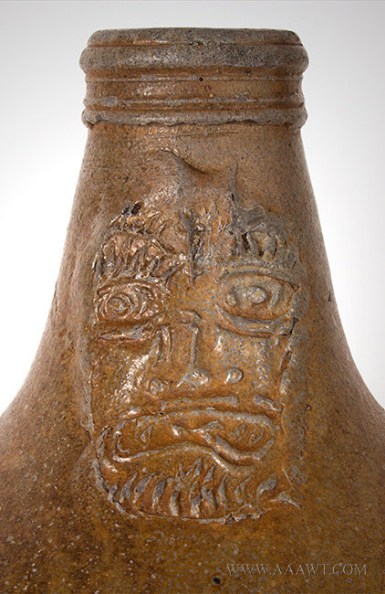 Antique Salt Glazed Bellarmine Graybeard Jug with Ribbed Handle, German, 17th Century, graybeard detail