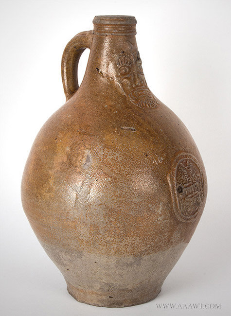 Antique Salt Glazed Bellarmine Graybeard Jug with Ribbed Handle, German, 17th Century, angle view 2