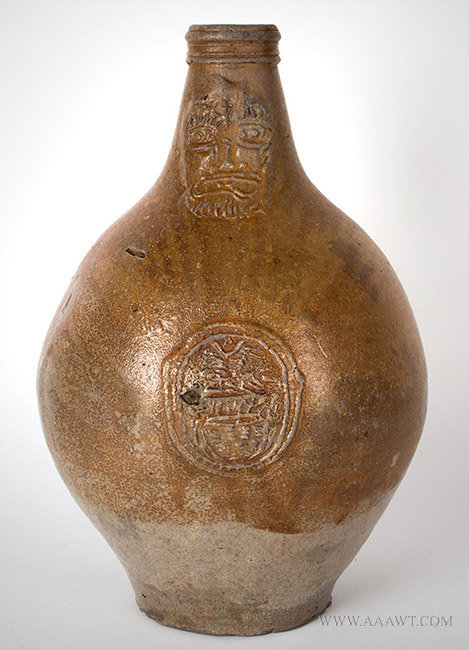 Antique Salt Glazed Bellarmine Graybeard Jug with Ribbed Handle, German, 17th Century, front view