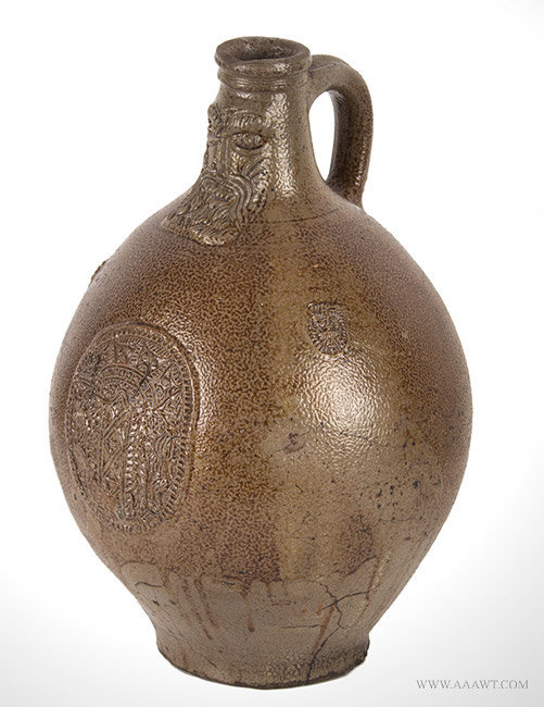 Antique Bartmannkrug Tiger Ware Stoneware Jug, Germany, 17th Century, angle view 1