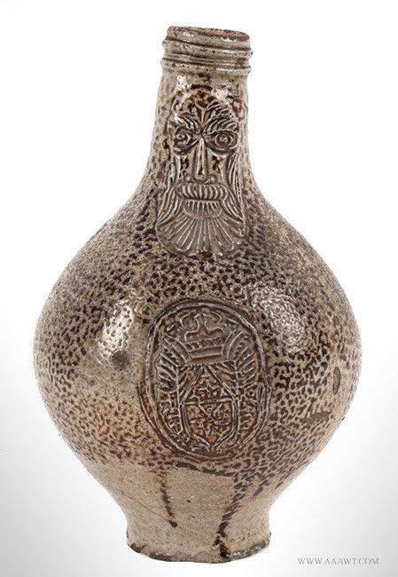 Antique Small Bellarmine Brown Salt Glaze Stoneware Bottle, 17th Century, entire view