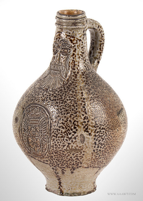 Antique Small Bellarmine Brown Salt Glaze Stoneware Bottle, 17th Century, angle view 1