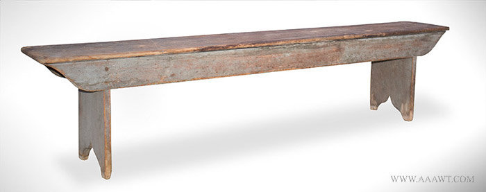 Antique Country Bench with Traces of Blue Paint, New England, Early 19th Century, angle view