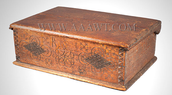 Bible Box, New England, Circa 1680, Carved Decoration, angle view