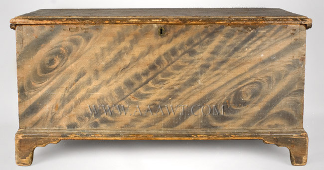 Blanket Chest, Dramatic Original Paint, Molded Lid and Base, Pine New England Circa 1800 to 1820, entire view