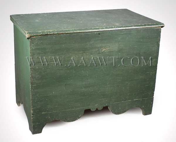 Blanket Chest, Lift Top, Original Paint, Shaped Apron, New York Circa 1800, entire view