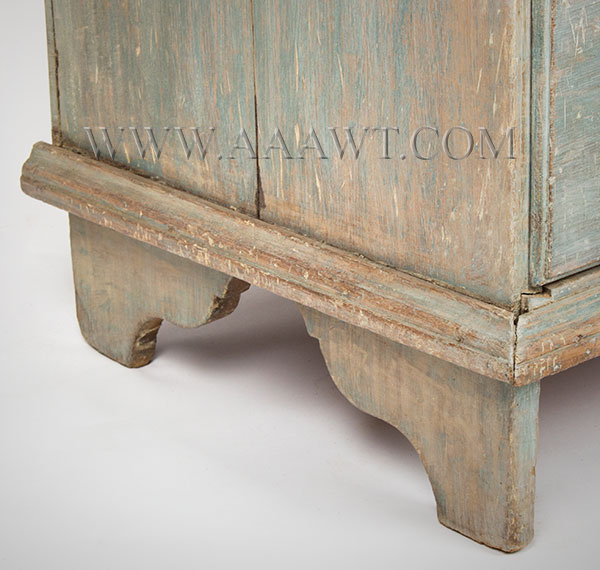 Blanket Chest, Old Blue Paint New England 18th Century Poplar case, chestnut drawer bottom, feet detail