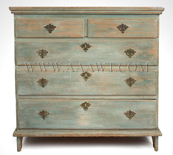 Blanket Chest, Old Blue Paint New England 18th Century Poplar case, chestnut drawer bottom, entire view