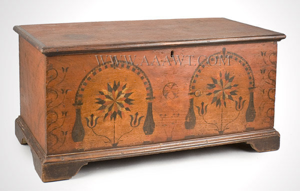Dower Chest, Rare Small Size, Original And Unusual Painted Decoration Berks  County/Lebanon County Area Circa 1790   SOLD