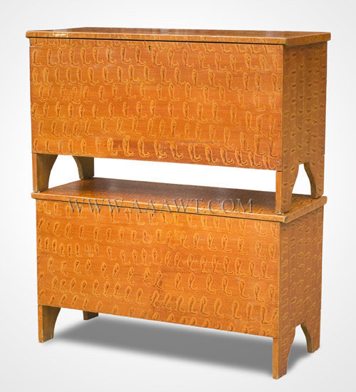 Blanket Chests, Fine Original Paint Decoration, Pair Vermont Circa 1825 to 1835, entire view
