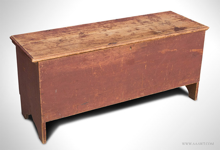 Antique Six Board Blanket Box in Original Red Paint, 18th Century, angle view