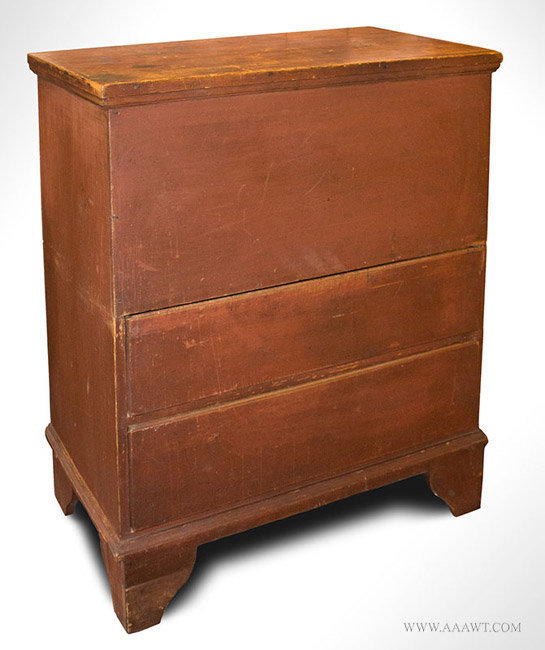 Antique Lift Top Blanket Chest Over Two Drawers, Original Red Paint, 18th Century, right angle view