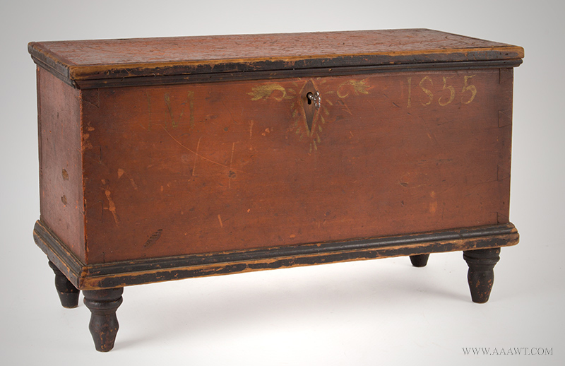 "Small Blanket Chest, Mini, Initialed ""IM"", Dated 1855, Original Paint, Lidded Till Attributed to Christian C. Blough (1828 – 1899), angle view"